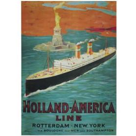 Affiche Holland-America 1950 - Toile imprimée Paquebot
