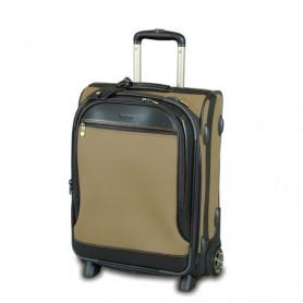 Valise Cabine à Roulettes en cuir et toile