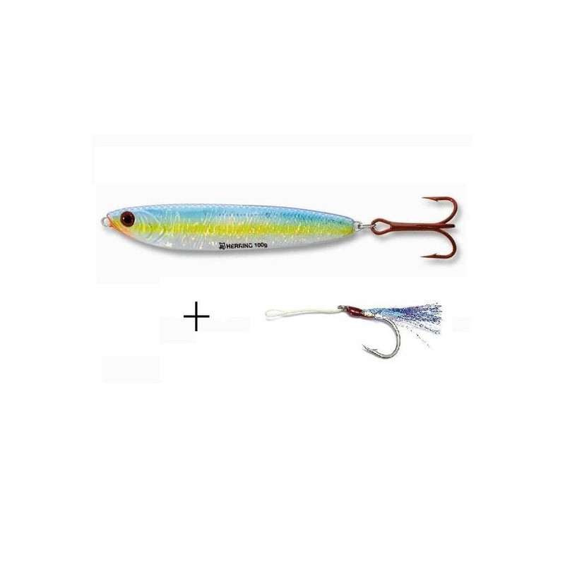Cuiller a jigger Herring avec assist hook plumes.